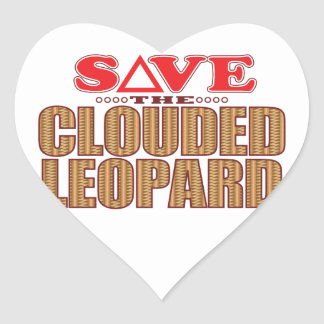 Clouded Leopard Save Heart Sticker
