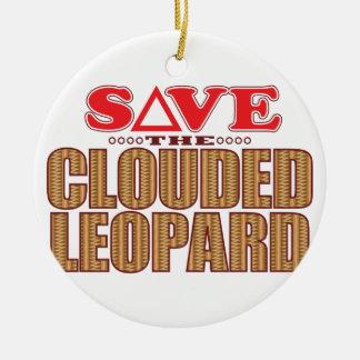 Clouded Leopard Save Round Ceramic Decoration