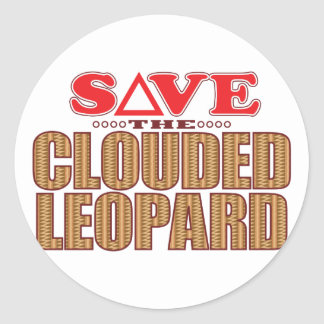 Clouded Leopard Save Round Sticker