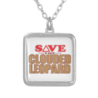 Clouded Leopard Save Silver Plated Necklace