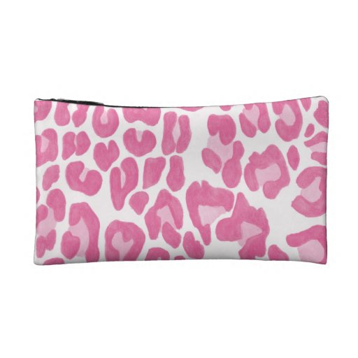 Clouded Leopards on a Log Pouch -- Magenta Cosmetic Bag