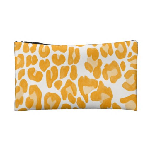 Clouded Leopards on a Log Pouch -- Orange Cosmetic Bag