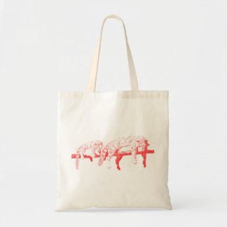 Clouded Leopards on a Log Tote Bag -- Red