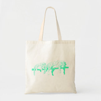 Clouded Leopards on a Log Tote Bag -- Turquoise