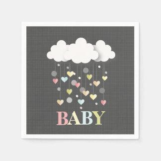 Clouds + Hearts Neutral Baby Shower Disposable Serviettes