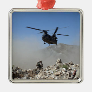 Clouds of dust kicked up by the rotor wash Silver-Colored square decoration