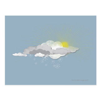 Clouds, Sun and Snowflakes Postcard