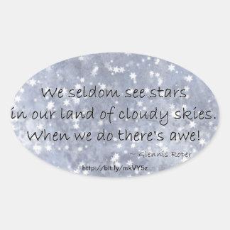 Cloudy blue Sky Star haiku Oval Sticker