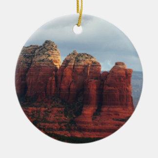 Cloudy Coffee Pot Rock Sedona Arizona Photography Round Ceramic Decoration