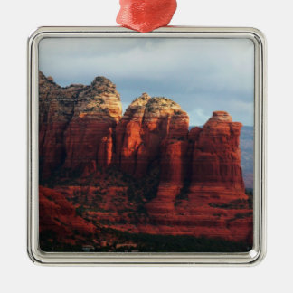 Cloudy Coffee Pot Rock Sedona Arizona Photography Silver-Colored Square Decoration