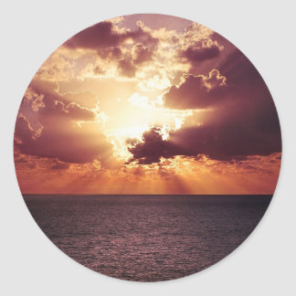 Cloudy Sunset over Sea Classic Round Sticker