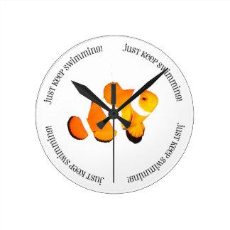 Clown Fish Just Keep Swimming Clock