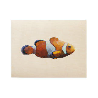 Clown Fish Low Poly Art Wood Poster