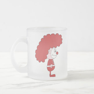 Clown in Red and White. Cartoon. Frosted Glass Mug