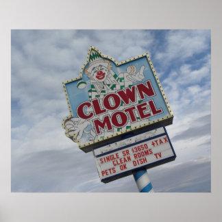 Clown Motel Road Sign Vintage Game Room Print