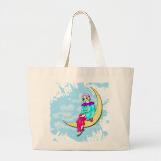 Clown on the moon tote bag.