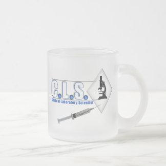 CLS BLUE LOGO W/ MICROSCOPE -  LAB SCIENTIST FROSTED GLASS MUG