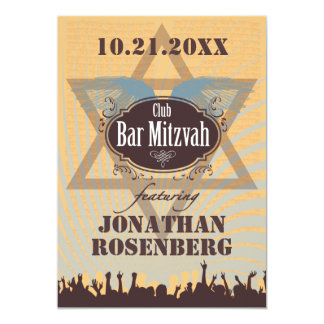 Club Bar Mitzvah 13 Cm X 18 Cm Invitation Card