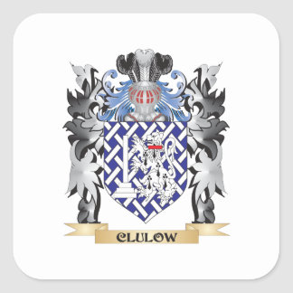 Clulow Coat of Arms - Family Crest Square Sticker