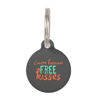 C'mere, Human, Free Puppy Kisses - Coral & Teal Pet ID Tag