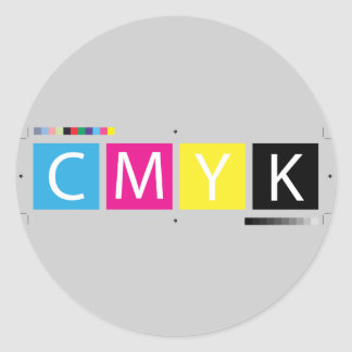 CMYK Pre-Press Colors Classic Round Sticker