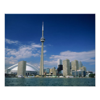 CN Tower and Skydome in Toronto, Ontario, Poster