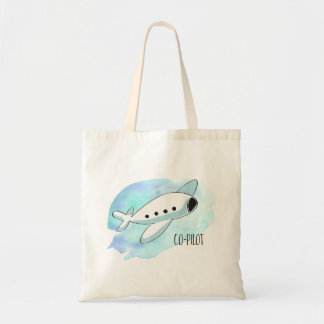 Co-Pilot with Plane Tote Bag