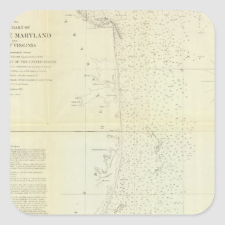 Coast of Delaware, Maryland, pt of Virginia Square Sticker
