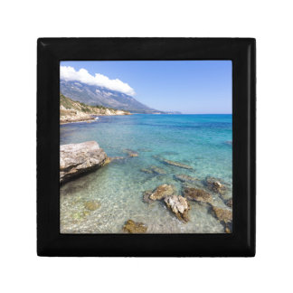 Coast with blue sea rocks and mountains in Greece Gift Box