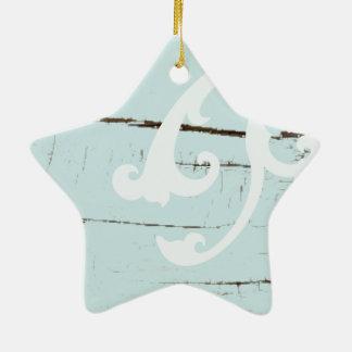 Coastal barn wood aqua blue starfish seashells christmas ornament