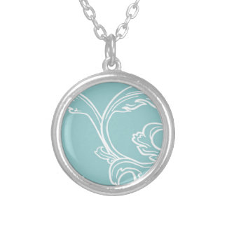 Coastal Blue White Flourish Personalized Necklace