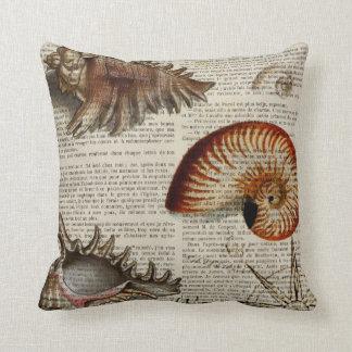 coastal conch vintage seashell botanical print cushion