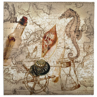 Coastal seahorse seashell Nautical Map Napkin
