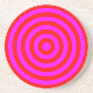 Coaster – Round – Red & Magenta circles