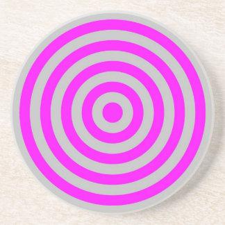 Coaster – Round – Silver & Magenta circles