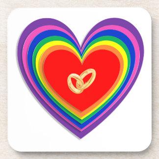 Coaster Set With Rainbow Hearts & 2 Wedding Rings
