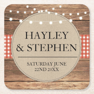 Coasters Red Check Lights Rustic Wedding Party