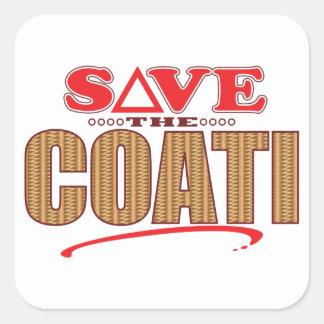Coati Save Square Sticker