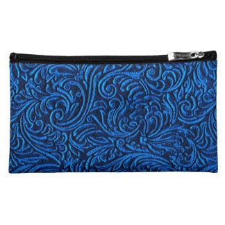 Cobalt Blue Black Vintage Tile Look Makeup Bag