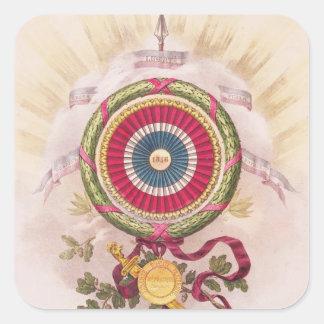 Cockade, emblem of 1848 square sticker
