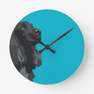 Cocker Spaniel - Black - Basic Breed Templates Round Clock