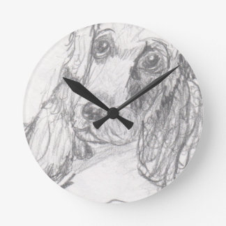 Cocker spaniel dog drawing Eliana Wall Clocks