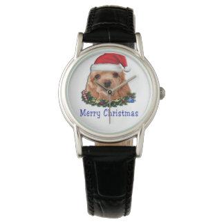 Cocker spaniel puppie christmas watch