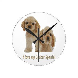 Cocker spaniel puppies clock