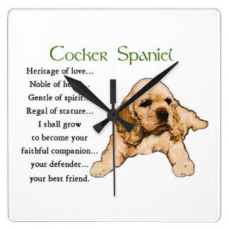 Cocker Spaniel Puppy Lovers Art Square Wall Clock