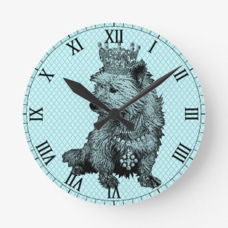 Cocker Spaniel Royal Dog Crown Adorable Round Clock