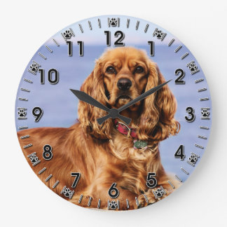 Cocker Spaniel - San Carlos Beach - Lady Large Clock