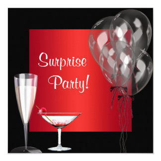 Cocktail Balloons Red Surprise Birthday Party 13 Cm X 13 Cm Square Invitation Card