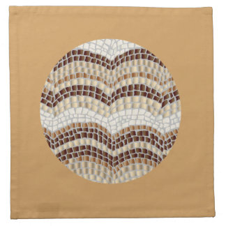 Cocktail cloth napkins with beige mosaic