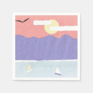 Cocktail Napkins with a Sunset Mountain Scene Disposable Serviettes